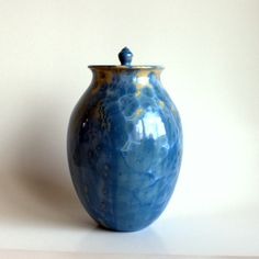 """Blue Yellow Blossom"" Ceramic Pet Cremation Urn"