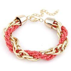 Sage Woven Metal Bead Bracelet