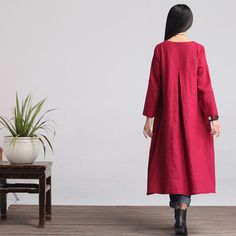 Loose Fitting Maxi Dress Maternity clothes in Red by deboy2000