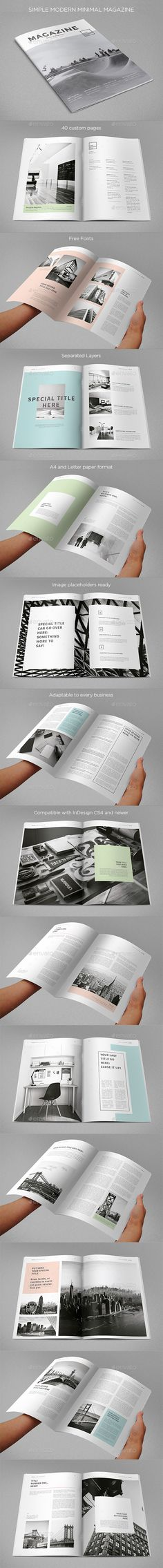 Simple Minimal Clean Magazine Template InDesign INDD #design Download: http://graphicriver.net/item/simple-minimal-clean-magazine/14286878?ref=ksioks