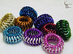 Chainmail Rings in color by ChainedBeauty