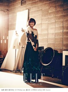 Park Jin-hee + a lovely skirt and sweater; Breaking Away, Elle Korea October 2012