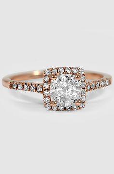 14K Rose Gold Sonora Halo Diamond Ring