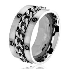 West Coast Jewelry Men's Brushed Stainless Steel Center Chain Comfort Fit Ring - 11mm Wide (Size - 9), White