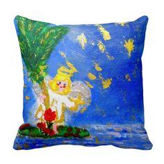 Cyber Monday Sale! 40% OFF Stunning Designer Throw Pillows.  Coupon Code: ZAZCYBER2014.  By Designer Marie-Jose Pappas of Innocent Originals. http://www.zazzle.com/innocentoriginals. Angel in the Tropics Designer Art Throw Pillow.