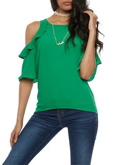 Cold Shoulder Flair Top with Choker Necklace,KELLY GREEN