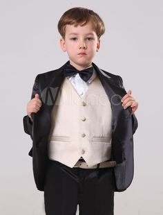 222cea921cb2 Baby Boy Suit Set Kids Wedding Tuxedo Yellow Jacket Pants Shirts Bow ...