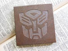 AUTOBOT ART TILE  Hand Carved Slate Coaster by BlythHouseCreations Slate Coasters, Slate Stone, Coaster Design, Tile Art, Transformers, Hand Carved, Fans, Carving, Fan Art