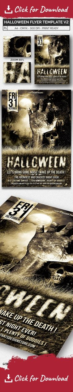 Halloween Mirror Poster - zombie flyer template