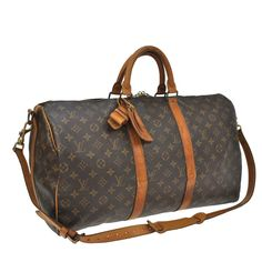 021cb5206e24 Duffle Keepall 50 Bandouliere Luggage Carry On Brown Monoogram Canvas  Weekend Travel Bag. Lv ...