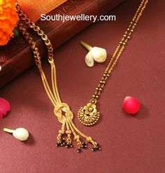 22 carat gold light weight black beads mangalsutra chain models by Manubhai jewellers. Gold Necklace Simple, Gold Jewelry Simple, Long Pearl Necklaces, Necklace Set, Pendant Necklace, Gold Mangalsutra Designs, Gold Earrings Designs, Gold Jewellery Design, Designer Jewellery
