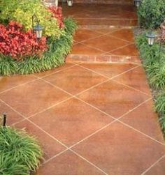 inground pool patio ideas Stained Concrete Patios Walkways