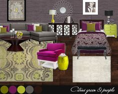 So loving grey, yellow/green and purple/pink but for living room