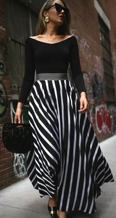 SPRING FAVORITES // black and white striped maxi skirt, black off the shoulder bodysuit, black embellished mule pumps, black oversized cat-eye sunglasses, black straw clutch {Diane von Furstenberg, DVF, Alice and Olivia, Le Specs, Cult Gaia, spring style,