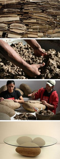 from cardboard to rocks Agua Table by Domingos Tótora