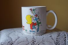 Vintage Russ Coffee Mug, I'd Rather Be Shopping, Kitschy Cartoon, Message Mug, Fun Gift, Gift for Her, Friend, Co Worker, White Elephant by BrindleDogVintage on Etsy