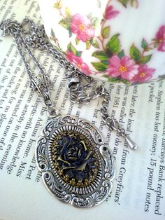 Rose Cameo Pendant Necklace Gothic Necklace by ApplebiteJewelry Cameo Ring, Cameo Necklace, Rose Necklace, Pendant Necklace, Victorian Jewelry, Gothic Jewelry, Vintage Jewelry, Gothic Rings, Cameo Pendant