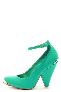 2a09f152546 Bamboo Thelma 03 Sea Green Nubuck Ankle Strap Pointed Heels