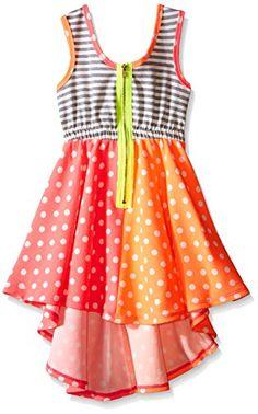 Bonnie Jean Girls Big Girls Stripe to Dot Knit Hi Low Dress Pink 7 -- Click image to review more details.