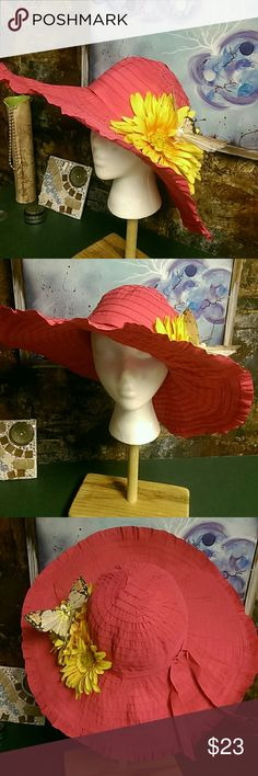 EUC. Wide brim Kentucky Derby Hat. Wired rim. So it can be shaped in multiple ways. Gorgeous pink fuchsia w flower and butterfly decor. Worn once for a Kentucky Derby party. Mums and a mint julep! Hugs Accessories Hats