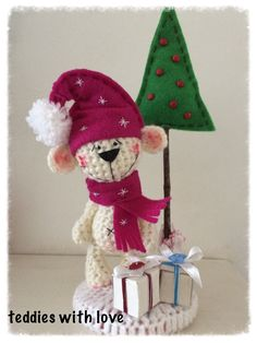 www.facebook.com/Teddieswithlove Crochet Teddy, Crochet Christmas, Elf On The Shelf, Facebook, Christmas Ornaments, Holiday Decor, Inspiration, Home Decor, Christmas