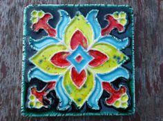 Tile / Coastersglazed texturized with blue by EstudioBarroAlto