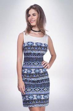 Visite meu site...   Vestido Tecido Estampado S19 nat] I16i- Azul Medio P  COMPRE AQUI!  http://imaginariodamulher.com.br/look/?go=2fZJaSv