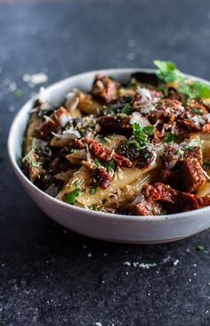 Chorizo, sun-dried tomatoes, portobello mushrooms, and plenty of garlic make this pasta dish a winner.