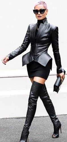 "Black Leather Modern Shape Peplum Jacket and mid-thigh leather peeptoe boots, can you say ""FIERCE""!!!!!!"
