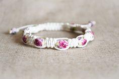 Porcelain shamballa bracelet, white shamballa, white beaded bracelet, flower pattern beads, womens beaded bracelet, anniversary gift for her - pinned by pin4etsy.com