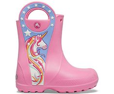 Girls' Crocs Fun Lab Unicorn Patch Rain Boot - Crocs Nice Clothes, Boots For Sale, New Girl, Kid Shoes, New Friends, Crocs, Cool Kids, Rubber Rain Boots, Shoes
