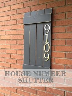 Darling planked house number shutter to add personality to your home!