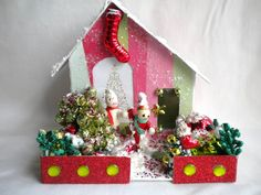 Vintage Inspired Putz Glitter House for your Christmas Village, mercury beads, bottlebrush tree, Vintage Jewelry. $25.00, via Etsy.