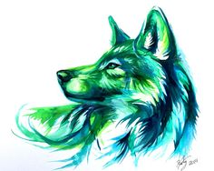Watercolour wolf - Katy Lipscomb Art.