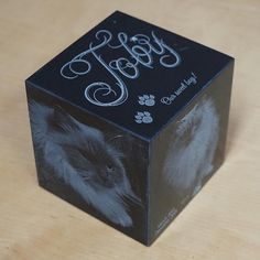Cat Urn: 15 lbs.  Black Granite Pet Cremation Urn by ArcLightLaser