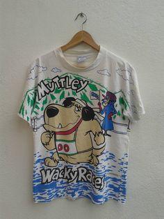 202833f6e26 Muttey Wackey Races Hanna Barbera Cartoon Vintage 90s Full Printed Cartoon  Classic T-Shirt Size M