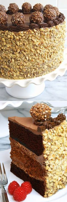 Chocolate Nutella Cheesecake Cake with variation for Nutella Crunch Cheesecake Cake Dedication: This special layer cake recipe is dedicated to Kate, a total N Nutella Cheesecake, Cheesecake Cake, Cheesecake Recipes, Dessert Recipes, Nutella Cake, Ferrero Nutella, Ferrero Rocher, Nutella Recipes, Chocolate Desserts