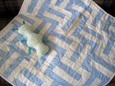 Baby Blue and White Modern Baby Quilt by Budgiefluff on Etsy