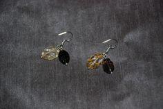 sterling silver craved leaves of citrine & smoky quartz earrings