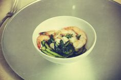 Créatrice de rêves - Steamed prawns with  green tea and scapece zucchini.