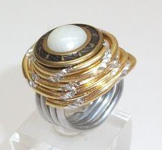 Aluminium Ring mit Kopfmuster Ring Gr 17,3 AR125 von Atelier Regina auf DaWanda.com
