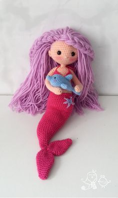 Mermaid and dolphin crochet doll pattern to purchase Crochet Doll Pattern, Easy Crochet Patterns, Amigurumi Patterns, Amigurumi Doll, Crochet Dolls, Knitting Patterns Free, Doll Patterns, Crochet Disney, Mermaid Diy