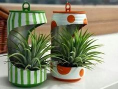 , Picture of Recycling Old Tin Can Into Mini Flower Planter. , Recycling Old Tin Can Into Mini Flower Planter Flower Planters, Diy Planters, Flower Pots, Planter Garden, Aluminum Can Crafts, Tin Can Crafts, House Plants Decor, Plant Decor, Garden Crafts