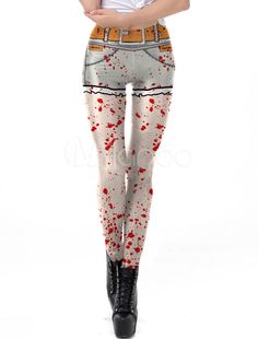 8540166d48b74 Women Halloween Leggings Blood 3D Print Elastic Waist Skinny Leggings # Leggings, #Blood,