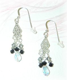 Crystal Chandelier Earrings on Sterling Silver Fish by Kittyandme, $15.00