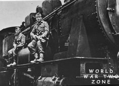 Anti-partisan look out by Wehrmacht troops astride a locomotive. Most likely in the East from World War Two Zone