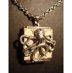 Steampunk Octopus Watch Face Locket Necklace