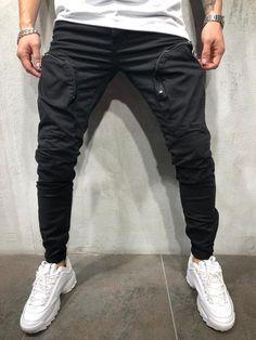 Men Zip Pockets Cargo Pants - Black 3992 0e3b39430b