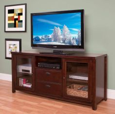 "65"" Wood Flat Screen TV Stand Media Console Entertainment Center Storage Cabinet 