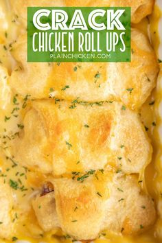Crack Chicken Roll-Ups - Chicken, cheddar cheese, bacon, and ranch dressing wrapped in crescent rolls and topped with milk and cream of chicken soup. Recipes Using Rotisserie Chicken, Leftover Rotisserie Chicken, Leftover Chicken Recipes, Chicken Strip Recipes, Chicken Ideas, Chicken Roll Ups, Crack Chicken, Chicken Soup, Stuffed Chicken